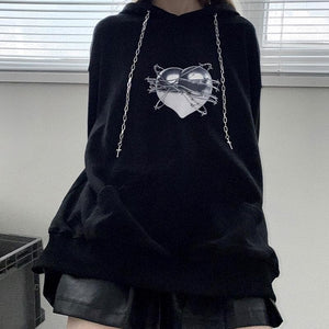 Gothic Love Heart Print Cross Drawstring Hoodie SP134