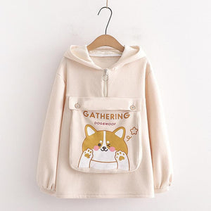 Dog Letter Print Ears Pocket Zipper Sweatshirt SP15557