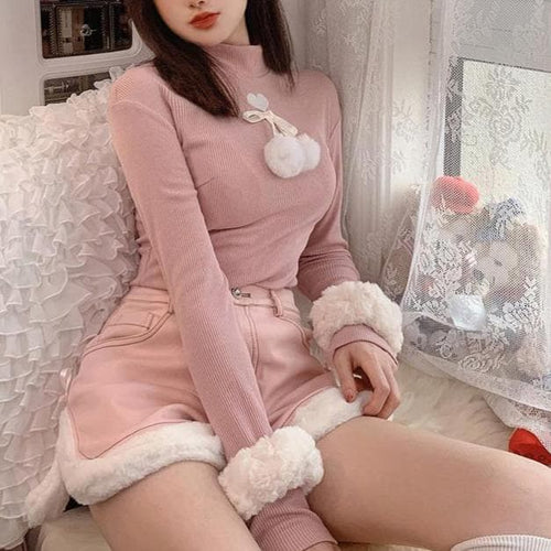 Cute Love Heart Embroidery Fuzzy Ball Turtleneck Top SS0981