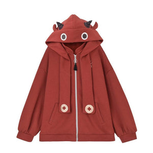 Lucky Calf Ears Embroidery Zipper Hooded Jacket with Back Pocket SS0871
