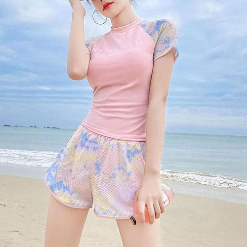 Letter Print CuteT-Shirt Shorts Swimsuit Set SS1126