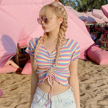 Load image into Gallery viewer, Rainbow Color Stripe Drawstring Ruffle Crop Top T-Shirt SP14925