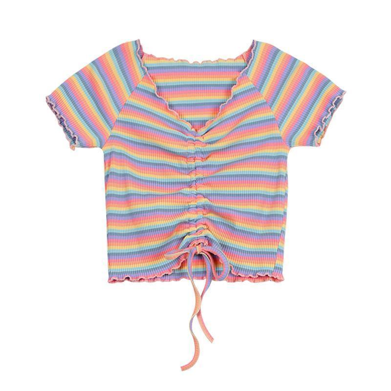 Rainbow Color Stripe Drawstring Ruffle Crop Top T-Shirt SP14925