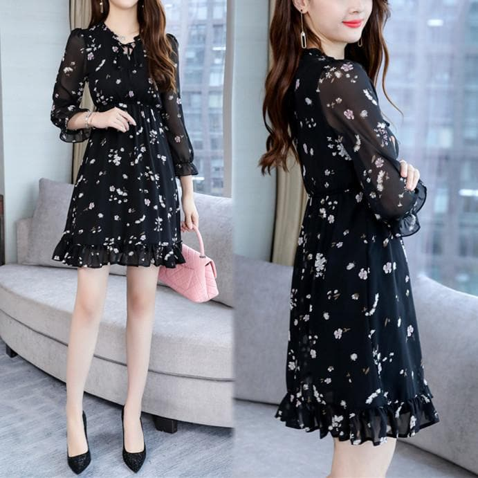 Black Sweet Floral Chiffon Dress SP1812377