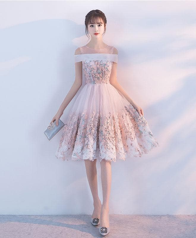 Pink Lace Tulle Short Prom Dress, Pink Homecoming Dress - DelaFur Wholesale