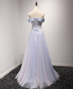 Light Blue Tulle Lace Long Prom Dress, Lace Evening Dress - DelaFur Wholesale