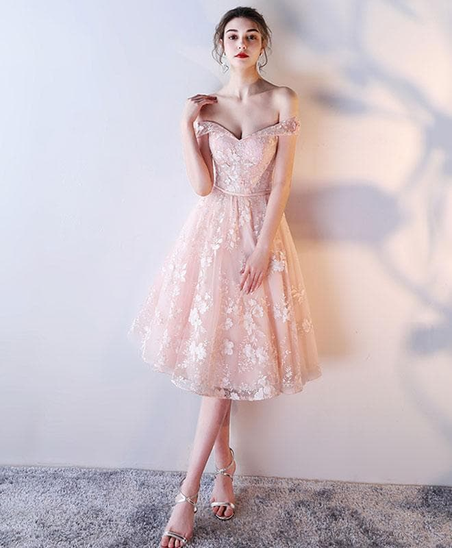 Pink Lace Off Shoulder Short Prom Dress, Lace Evening Dress - DelaFur Wholesale