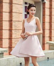 Load image into Gallery viewer, Stylish Pink V Neck Irregular Short Prom Dress, Homecoming Dress - DelaFur Wholesale