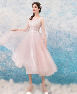 Pink Round Neck Lace Tulle Short Prom Dress, Evening Dress - DelaFur Wholesale