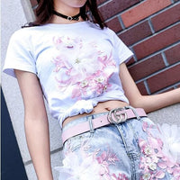 Pastel Flowers Embroidery Tee Shirt SP13661