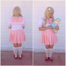 Load image into Gallery viewer, Plus Size Pastel Cute  Baby Pink Sailor Seifuku School Uniform Pleated Skirt Only SP140888 - SpreePicky  - 6