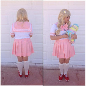 Plus Size Pastel Cute  Baby Pink Sailor Seifuku School Uniform Pleated Skirt Only SP140888 - SpreePicky  - 6