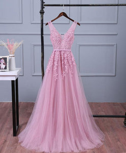 Pink V Neck Lace Tulle Long Prom Dress, Lace Evening Dresses - DelaFur Wholesale