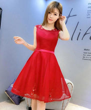 Load image into Gallery viewer, Cute Round Neck Lace Short Prom Dress - SpreePicky FreeShipping
