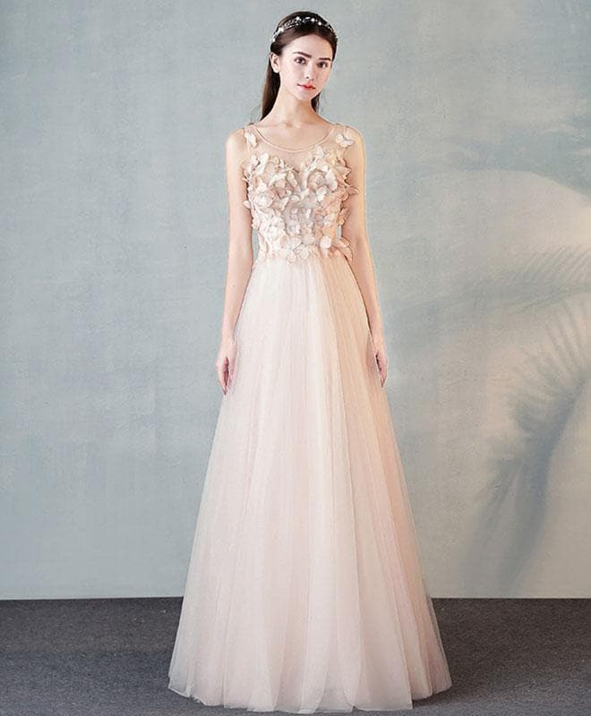 Stylish Round Neck Tulle Long Prom Dress, Evening Dress - DelaFur Wholesale