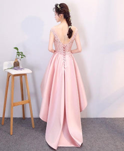 Pink High Low Lace Prom Dress, Evening Dress - DelaFur Wholesale