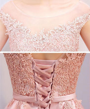 Load image into Gallery viewer, Pink High Low Lace Prom Dress, Evening Dress - DelaFur Wholesale