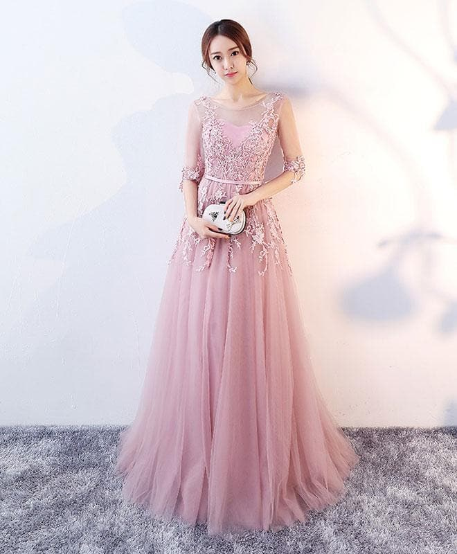Pink Round Neck Lace Tulle Long Prom Dress, Evening Dress - DelaFur Wholesale
