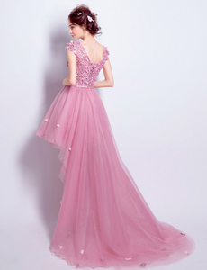 Pink Lace Tulle Long Prom Dress, High Low Evening Dress - DelaFur Wholesale