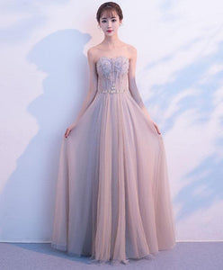 Light Champagne Tulle Long Prom Dress, Evening Dress - DelaFur Wholesale