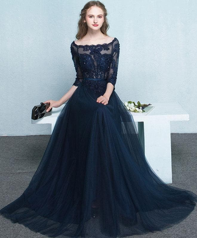 Dark Blue Lace Long Prom Dress, Long Sleeve Evening Dress - DelaFur Wholesale