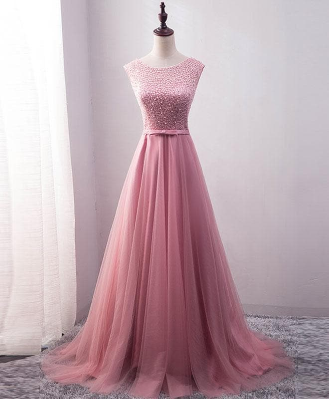 Pink Tulle Long A Line Prom Dress, Pink Evening Dress - DelaFur Wholesale