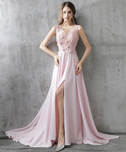Load image into Gallery viewer, Pink A Line Satin Lace Long Prom Dress, Pink Evening Dress - DelaFur Wholesale