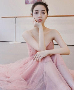 Cute Pink Tulle Long Prom Dress, Pink Evening Dress - DelaFur Wholesale
