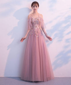 Dusty Pink Lace Tulle Long Prom Dress, Evening Dress - DelaFur Wholesale