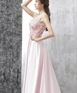 Pink A Line Satin Lace Long Prom Dress, Pink Evening Dress - DelaFur Wholesale