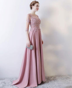 Pink Lace Long Prom Dress, Long Sleeve Evening Dress - DelaFur Wholesale