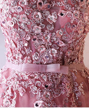 Load image into Gallery viewer, Pink Lace Applique Long A Line Prom Dress, Pink Evening Dress - DelaFur Wholesale