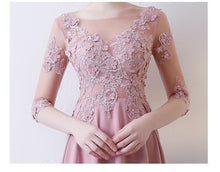 Load image into Gallery viewer, Pink Lace Long Prom Dress, Long Sleeve Evening Dress - DelaFur Wholesale