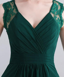 Green Lace Chiffon Long Prom Dress, Green Evening Dress - DelaFur Wholesale