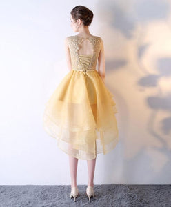 Gold Lace Tulle Short Prom Dress, High Low Evening Dress - DelaFur Wholesale