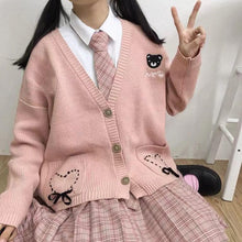 Load image into Gallery viewer, Pink Sweet Heart Bear Sweater Cardigan SP13558