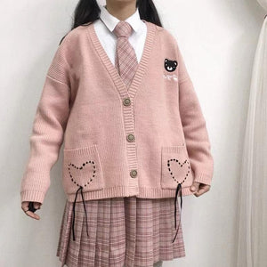 Pink Sweet Heart Bear Sweater Cardigan SP13558