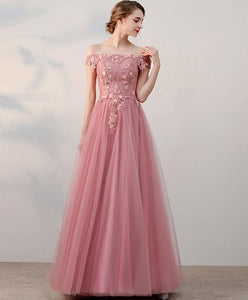 Pink Lace Tulle Long Prom Dress, Pink Evening Dresses - DelaFur Wholesale