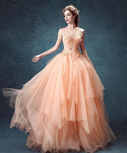 Load image into Gallery viewer, Pink Tulle Lace Long Prom Gown, Pink Evening Dress - DelaFur Wholesale