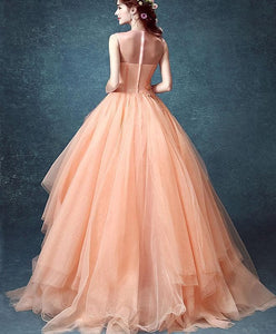 Pink Tulle Lace Long Prom Gown, Pink Evening Dress - DelaFur Wholesale