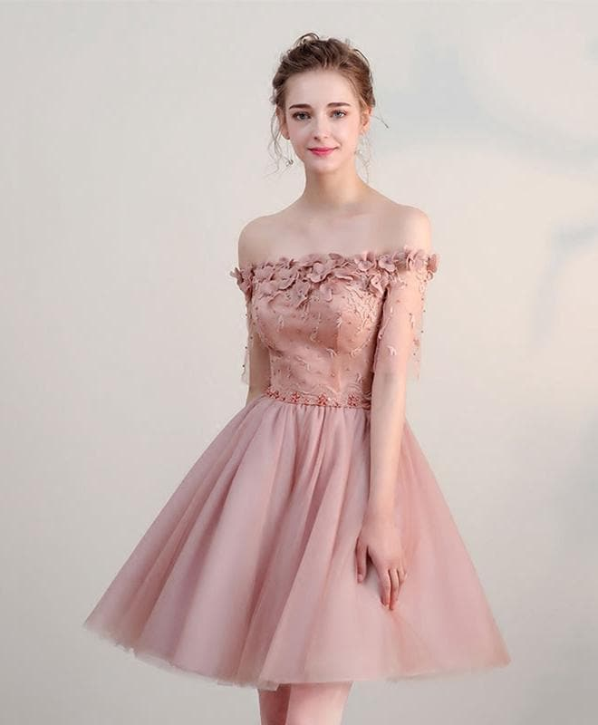 Pink Lace Off Shoulder Short Prom Dress, Pink Homecoming Dress - DelaFur Wholesale