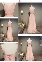 Load image into Gallery viewer, Pink Chiffon Long Prom Dress, Bridesmaid Dress - DelaFur Wholesale