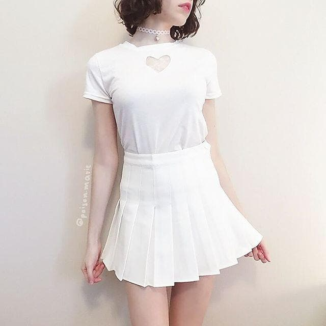 White/Black Heart Cut Out Hallow Short Sleeve Shirt SP165631