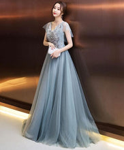 Load image into Gallery viewer, Stylish V Neck Tulle Lace Long Prom Dress, Evening Dress - DelaFur Wholesale