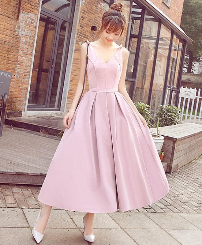 Stylish Pink V Neck Short Prom Dress, Cheap Evening Dress - DelaFur Wholesale