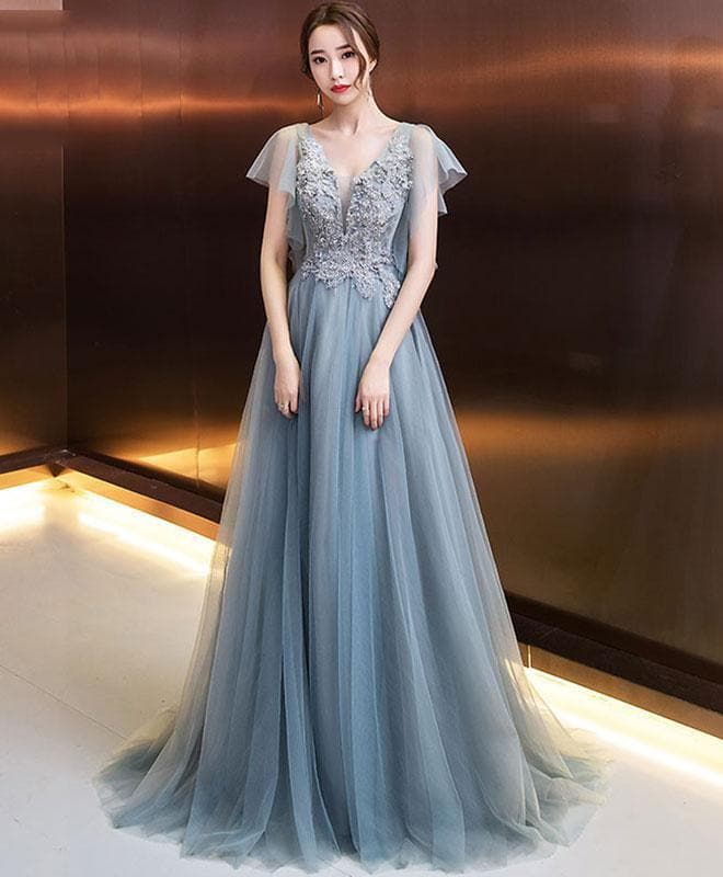 Stylish V Neck Tulle Lace Long Prom Dress, Evening Dress - DelaFur Wholesale