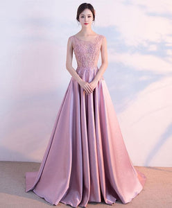 Pink Lace Satin A Lin Long Prom Dress, Pink Evening Dress - DelaFur Wholesale