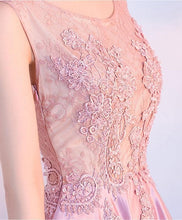 Load image into Gallery viewer, Pink Lace Satin A Lin Long Prom Dress, Pink Evening Dress - DelaFur Wholesale