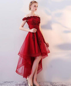 Burgundy High Low Tulle Lace Long Prom Dress, Lace Evening Dress - SpreePicky FreeShipping