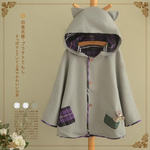 Cute Cat Ear Hooded Cloak Outerwear Casual Cape SP168316